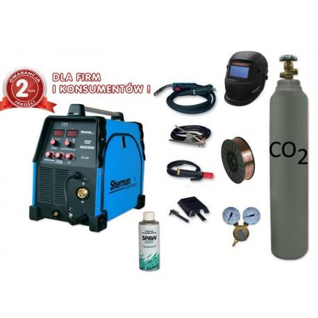 Spawarka MIG 200M + przyłbica V2a + reduktor dwumanometrowy + drut + butla + spawmix