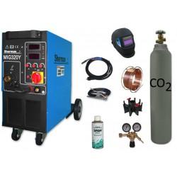 Spawarka MIG 320Y + butla + przylbica V1a + drut + adaptor + spawmix + reduktor