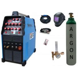 Spawarka TIG 210 AC/DC pulse Sherman + przyłbica V4 + butla + reduktor z rotametrem