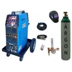 Zestaw spawalniczy TIG 320 AC/DC pulse WS-7,5LT, wózek platformowy TIG + przyłbica V1a + butla + reduktor z rotametrem
