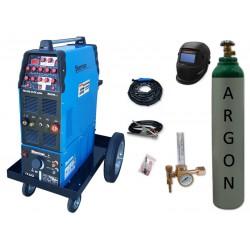Zestaw spawalniczy TIG 320 AC/DC pulse WS-7,5LT, wózek platformowy TIG + przyłbica V2a + butla + reduktor z rotametrem