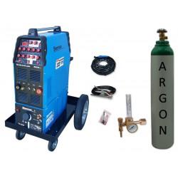Zestaw spawalniczy TIG 320 AC/DC pulse WS-7,5LT, wózek platformowy TIG + butla + reduktor z rotametrem