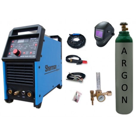 Spawarka DIGITIG 200GD AC/DC pulse Sherman + przyłbica V2a + butla + reduktor z rotametrem