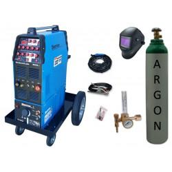 Zestaw spawalniczy TIG 320 AC/DC pulse WS-7,5LT, wózek platformowy TIG + przyłbica V4 + butla + reduktor z rotametrem