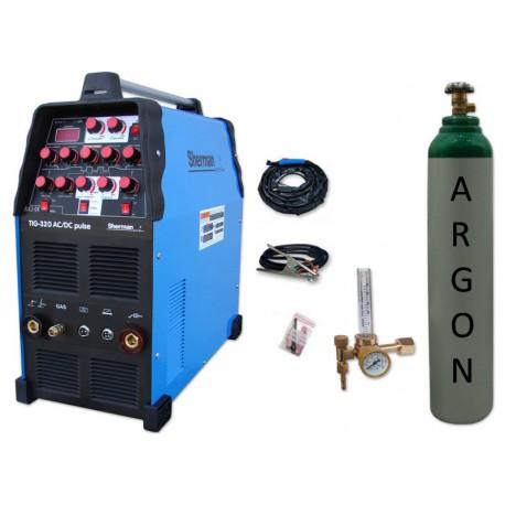 Spawarka TIG 320 AC/DC pulse Sherman + przyłbica V1a + butla + reduktor z rotametrem