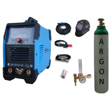 Spawarka Sherman DIGITIG 200 DC Multipro + przyłbica V2a + butla + reduktor z rotametrem
