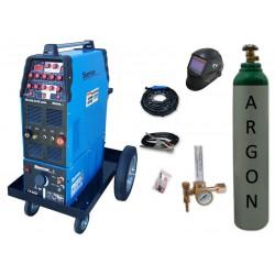 Zestaw spawalniczy TIG 320 AC/DC pulse WS-7,5LT, wózek platformowy TIG + przyłbica V3b + butla + reduktor z rotametrem
