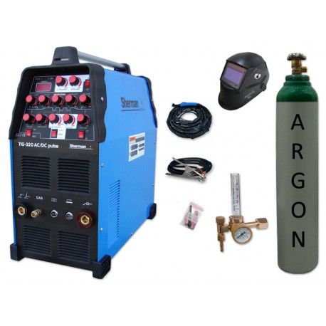 Spawarka TIG 320 AC/DC pulse Sherman + przyłbica V2a + butla + reduktor z rotametrem