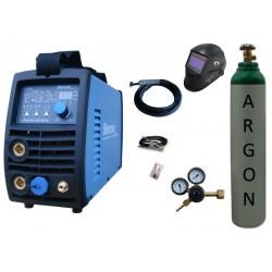 Spawarka Sherman DIGITIG 216P AC/DC inwertorowa + przyłbica V2a + butla + reduktor z rotametrem