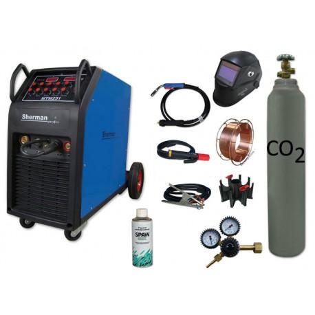 Spawarka MTM 251 + butla CO2 6kg + reduktor arg/co2 + przyłbica samościemniająca V2a + drut + adaptor + spawmix