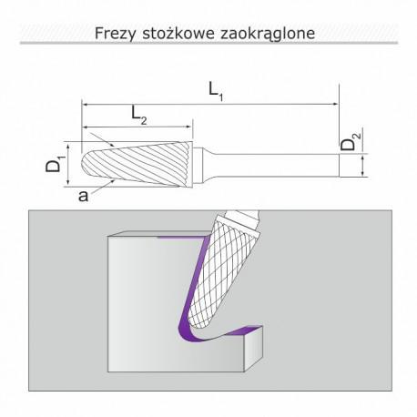 Frez stożkowy zaokrąglony L122806