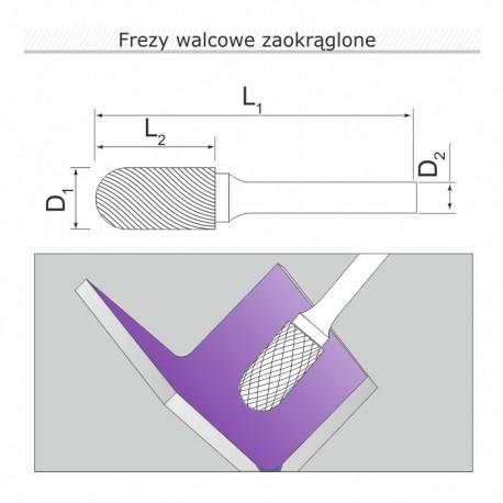 Frez walcowy z ostrzami na czole B082006