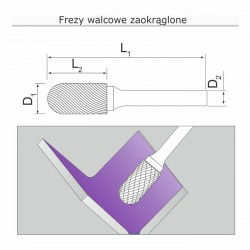 Frez walcowy zaokrąglony C122506