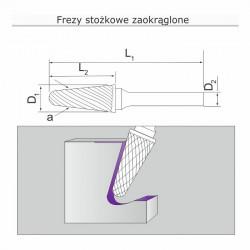Frez stożkowy zaokrąglony L061606