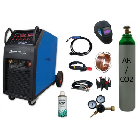 Spawarka MTM 251 + butla CO2 6kg + reduktor dwumanometrowy + przyłbica samościemniająca V1a + drut + adaptor + spawmix