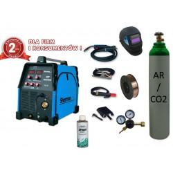 Spawarka MIG 200M + reduktor argco2 + drut + butla mix + przyłbica V1a + spawmix
