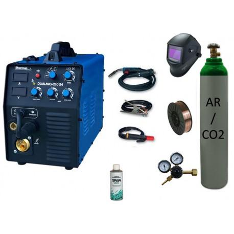 Spawarka Sherman DUALMIG 210 S4 + drut + butla mix + przyłbica V3b + reduktor dwumanometrowy + spawmix
