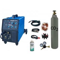 Spawarka DUALMIG 210 S3 Sherman + butla CO2 6kg + reduktor dwumanometrowy + przyłbica V1a + drut + adaptor + spawmix