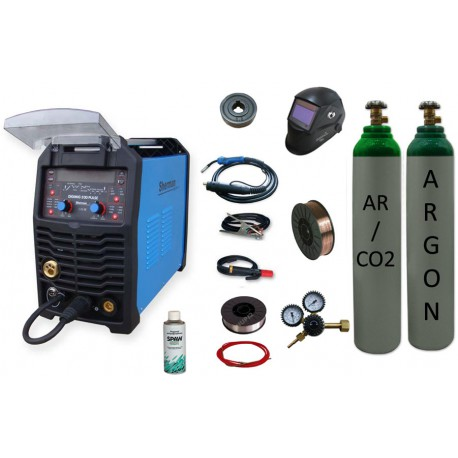 Spawarka Sherman DIGIMIG 200 Pulse synergiczna Aluminium + butla mix + butla argon + drut + reduktor + przyłbica v4